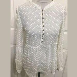 Akiko Ivory Raised Dot Sheer Henley Blouse Top